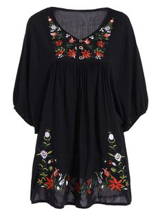 Elegant Women's 1/2 Sleeve Plus Size Embroidered Dress