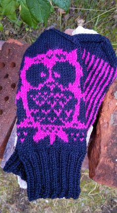 Sitä kuusta kuulemine, minkä juurel koti on.: PikkuPöllö -lapaset + ohje. Owl mittens with instructions, in English as well.
