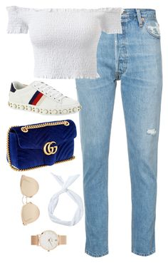 """""""Untitled #4644"""" by magsmccray ❤ liked on Polyvore featuring RE/DONE, Gucci, Christian Dior and CLUSE"""