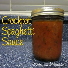 Homemade spaghetti sauce in the crockpot for one-third the cost of store bought. And no weird chemicals or added sugar either! BrownThumbMama.com