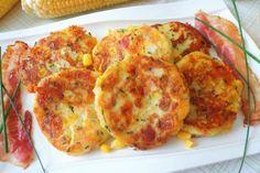 Frittelle di patate con mais, bacon e cheddar