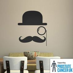 Bowler Hat Moustache Wall Sticker Set