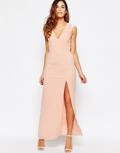 Elise Ryan | Elise Ryan Open Back Sleeveless Maxi Dress With Lace Trim And Thigh Split at ASOS