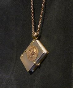 Miniature Brass Book Necklace Copper Rose by anotherworkinprogres, $44.00