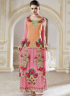 Unique Orange And Pink Embroidery Resham Work Net Pakistani Suit