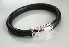 Men's Black Licorice Leather Bracelets by FerozasjewelryForMen