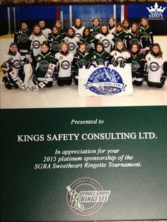 """The Spruce Grove Ringette Association is a traveling ice hockey program for girls located in Spruce Grove, Alberta.  """"Kings Safety Consulting took this opportunity to give back to the community in a meaningful way. The donation encourages young ladies to perform their best, a mission at Kings Safety Consulting we encourage every day."""" Kings Safety Consulting is proud to support an organization that advocates for strong, healthy and confident young ladies. www.kingssafety.ca"""