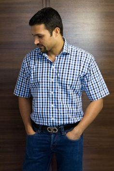 The Stiff Collar Blue and Black Gingham Half Sleeves -  the exclusive collection from designers and boutique brands on Koolkart.com