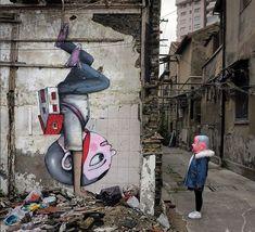 "Artist: #JulienMalland (SETH)- http://seth.fr/- ""The big head doll"" City: Shanghai, China #StreetArt #urbanart"