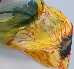 Hand painted silk scarf: sunflowers with green leaves. Gift