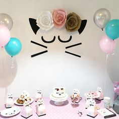Cat Birthday Party / Meow Party/ Cat flower crown / Cat