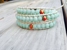 Triple Leather Wrap Bracelet Mint and by SimplyLoveleaDesigns