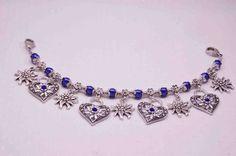 Charivari  Blütenkette Blau  fürs Dirndl,Tracht,Oktoberfest;oder Collier