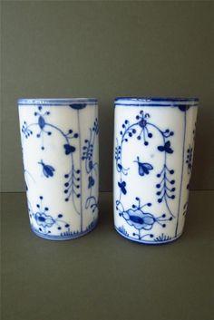 Vintage Vase Vases Hand Painted Blue White Porcelain Ceramic Danish Scandinavian