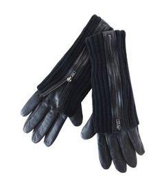 Leather gloves black - Promod