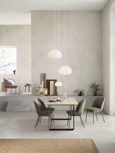 Scandinavian dining room interior inspiration from Muuto: Combining modern, geometric lines with a light expression and comfortably soft seat, the Oslo Side Chair brings a refined perspective to the f Side Chairs, Dining Chairs, Dining Table, Patio Dining, Lounge Chairs, Dining Set, Room Chairs, Side Tables, Scandinavian Interior Design