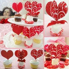 Free Printable Valentine Cupcake Picks Toppers Template