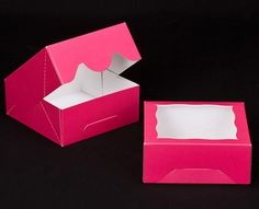 """2854 - 6"""" x 6"""" x 2 1/2"""" Pink/White with Window, Timesaver Box With Lid"""