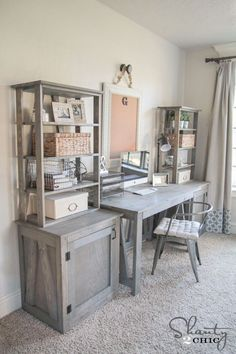 Free Plans - DIY Desk System by Shanty2Chic Office DIY Decor, Office Decor, Office Ideas #DIY