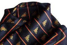 Vintage Black Silk Scarf with Crowns