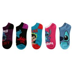 Disney Lilo & Stitch No-Show Socks 5 Pair | Hot Topic ($10) ❤ liked on Polyvore featuring intimates, hosiery, socks, disney socks and disney