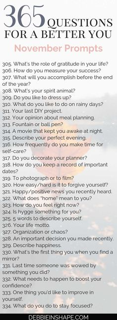 365 Questions For A Better You: the November Edition – Debbie Rodrigues Keep the Personal Development conversation going with the 365 Questions For A Better You, the November Edition. Learn more about yourself in a relaxing and joyful way. 365 Questions, Driving Questions, Personal Questions, Journal Writing Prompts, Writing Tips, Creative Writing, Journaling, Self Development, Personal Development