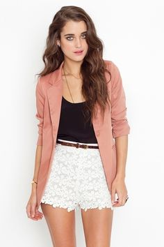 loooove the crochet shorts with the blazer. too cute.