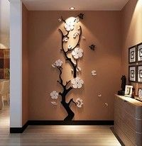 Wish | Plum 3d stereo acrylic crystal cozy bedroom wall stickers living room TVbackdrop decorative entrance M: 120 * 36CM
