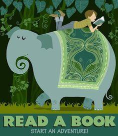 Lee un libro, empieza una aventura. Ilustración de Galia Bernstein