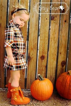 PRE-ORDER- Halloween Plaid Tie Dress for baby, toddler, and girl. $54.00, via Etsy.