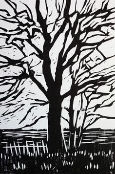 ✽   'tree silhouette'  -    alexandra buckle  -  linocut