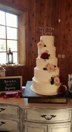5 Tier Wedding Cake Simple Roses On Desserts By Holly