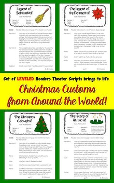Focus on differentiation with this Christmas Around the World set of leveled Reader's Theaters!  This set focuses on telling the story behind 4 important customs celebrated around the world at Christmas time.  Written on 3 separate reading levels, it is easy to match each student with a part that meets their individual need! https://www.teacherspayteachers.com/Product/Christmas-Around-the-World-Readers-Theater-Set-Differentiated-scripts-2214543