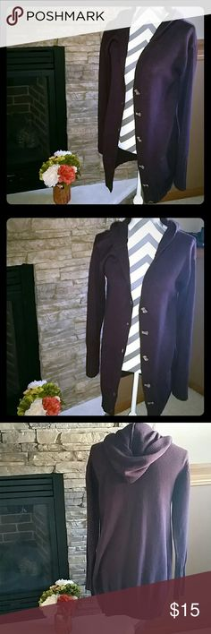 Long sweater/cardigan Like new, eggplant color, with elastic waist and hood. Sweaters