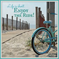 my bike Turquoise Beach Cruiser (Coastal Living Bike Seaside Path Fence Quote Bicycle Art Photography)
