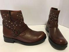 scarpe stivali tronchetto colore marrone  40 made in italy tacco 4 borchie