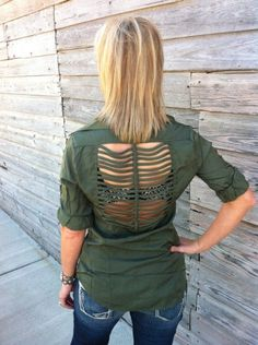 Cowgirl Clad Company - Olive Cutout Back Button Down Top, $46.00 (http://www.cowgirlclad.com/olive-cutout-back-button-down-top/)