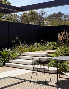 Coastal Gardens, Coastal Homes, Small Gardens, Indoor Outdoor Living, Outdoor Spaces, Outdoor Decor, Contemporary Beach House, Concrete Stairs, Most Beautiful Gardens