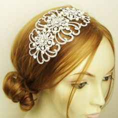 Extra Large Rhinestone & Pearl Bridal Headpiece by luxedeluxe, $124.00