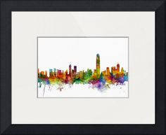 """Hong Kong Skyline"" by Michael Tompsett, Castellon // Watercolor art print of the skyline of Hong Kong, China // Imagekind.com -- Buy stunning fine art prints, framed prints and canvas prints directly from independent working artists and photographers."