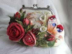 """Купить сумочка """"Аврора"""" - коралловый, аврора, розы, букет роз, красыне розы, Валяние"""