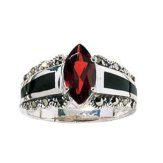 """Pyramid Collection Onyx & Garnet Ring """"Contemporary jewelry in the Victorian mode. Flanked with insets of polished onyx, a genuine faceted garnet (gemstone of love and compassion) highlights this setting of filigreed sterling silver. Pyramid Collection, Gothic Engagement Ring, Garnet Jewelry, Garnet Gemstone, My Birthstone, Onyx Ring, Gothic Jewelry, Gypsy Jewelry, Jewelery"""