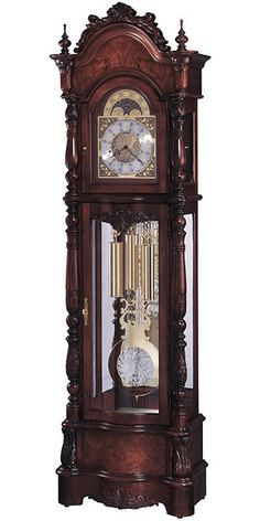 Howard Miller Veronica Victorian Grandfather Clock This Victorian furniture styled floor clock with a satin Windsor Cherry finish offers elegant details. An ornate pediment features bookmatched. Victorian Furniture, Victorian Decor, Victorian Homes, Vintage Furniture, Victorian Clocks, Victorian Era, Old Clocks, Antique Clocks, Antique Watches