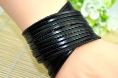 Black leather braceletcharm bracelet Fashion Jewelry by Evanworld, $7.99 Fashion charm handmade personalized bracelet, the best Christmas gift.