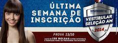 Última semana para se inscrever no Vestibular Seleção UniNorte. Acesse http://www.uninorte.com.br São mais de 150 bolsas entre integrais e parciais.  #vestibular #uninorte