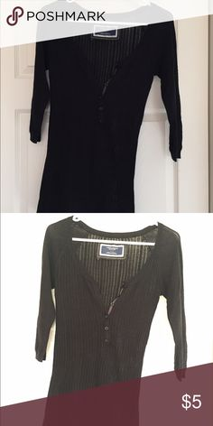 American Eagle Black Sweater AEO black sweater with knit detailing making the shirt semi see-through. Quarter button down with 3/4 sleeves, good condition! American Eagle Outfitters Sweaters