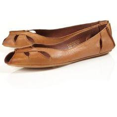 Tan leather peep toe flats