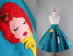 1950s Skirt / Vintage 50s Full Felt Skirt / Fifties by HolliePoint