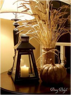 Dining Delight: Fall Wheat Centerpiece Love the vignette