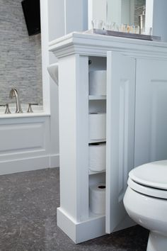 Talk About TP - Toilet Paper Storage Is bathroom storage limited in your bathroom? See these great ideas for toilet paper storage and inspiration for holders here. Diy Bathroom Remodel, Shower Remodel, Budget Bathroom, Bathroom Renovations, Bathroom Interior, Home Remodeling, Bathroom Ideas, Simple Bathroom, Bathroom Inspiration